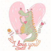 Funny cartoon dragon in vector. — Stock Vector