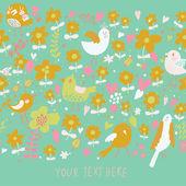 цветочные бесшовные фон с милой птицы. — Cтоковый вектор