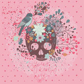 Mystical card with skull, bird and flowers in vector. — Stock Vector