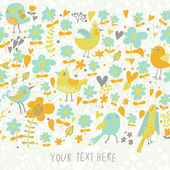 Floral seamless background with cute birds. — Stockvektor