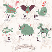 Cute zoo alphabet in vector. U, v, w, x, y, z letters. — Stock Vector