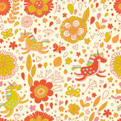 Cute floral seamless pattern with small rainbow unicorns. — Stock Vector