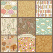 Set of nine autumn seamless patterns — Stock Vector