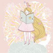Book reading princess in pastel colors. — Stock Vector