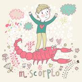 Cute zodiac sign - Scorpio. — Stock Vector