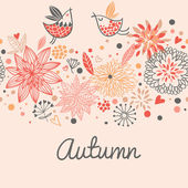 Autumn seamless pattern with cute birds, flowers and hearts — Stock Vector