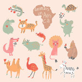 Funny cartoon animals in bright colors. — Vetorial Stock