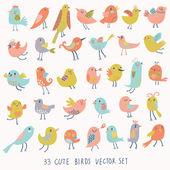 Set of 33 bright beautiful birds in vector. — Stock Vector