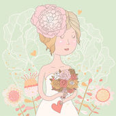 Beautiful blonde bride with bouquet made of ranunculuses — Stock Vector