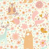 Fox, bear, rabbit, owl, snail in trees and flowers. — Stock Vector