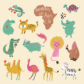 Funny cartoon animals in bright colors. — ストックベクタ