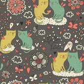 Gatos suaves en las nubes en el cielo. — Vector de stock