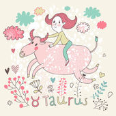 Cute zodiac sign - Taurus. — Stock Vector