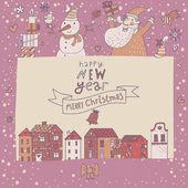 Cute cartoon Christmas card with Santa and Snowman — Stock Vector