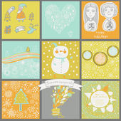 Childish vector set of nine christmas cards. — Cтоковый вектор