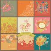 Set of nine autumn backgrounds with leaf — Stock Vector