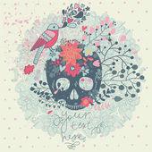 Tarjeta mística con el cráneo, aves y flores en el vector. — Vector de stock