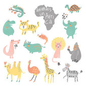 Funny cartoon animals in bright colors. — Stok Vektör