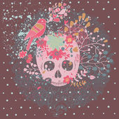 Mystical card with skull, bird and flowers in vector. — Vecteur