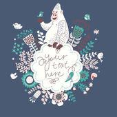 винтажные цветочные кадр с смешная горилла в любви. — Cтоковый вектор