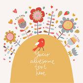 Cartoon card with bird and flowers — Stock Vector