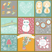 Childish vector set of nine christmas cards. — Stock vektor