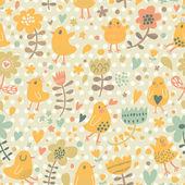 Gentle funny chicken in flowers. — Stock Vector