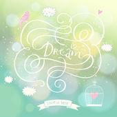 雲、鳥、ケージとのロマンチックな夢のはがき — ストックベクタ