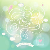 Romantic dream postcard with clouds, bird and cage — Stock Vector