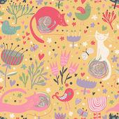 Lindos gatos graciosos en corazones, pájaros y flores. — Vector de stock
