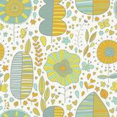 Papel tapiz floral verano en vector — Vector de stock