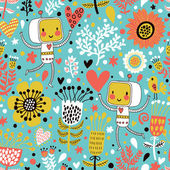 Cute childish seamless pattern with robots — Vettoriale Stock