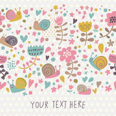 Cute floral seamless background with small snails. — 图库矢量图片