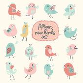 Cute birds in vector. — Stock Vector