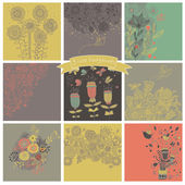 Vector set of cute nine floral backgrounds. — Stockvektor