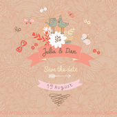 Stylish Save the Date card made of cute birds — Stock Vector