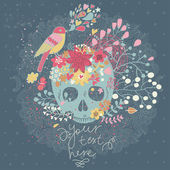 Mystical card with skull, bird and flowers in vector. — Stock vektor