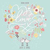Stylish wedding invitation made of flowers — Stock Vector