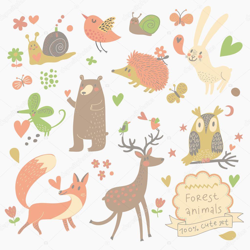 卡通可爱的野生动物在森林里的一套