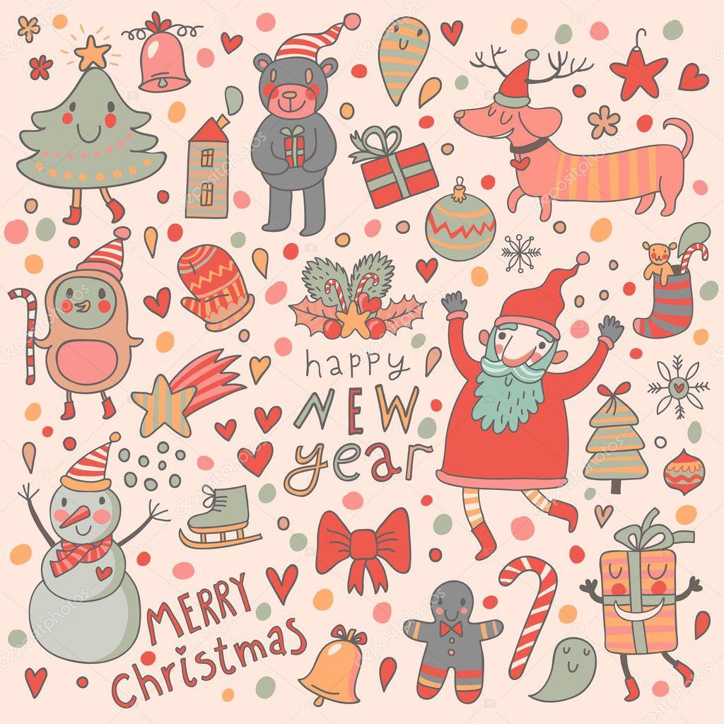 lustige weihnachten und neujahr nahtlose muster stockvektor smilewithjul 44238967. Black Bedroom Furniture Sets. Home Design Ideas