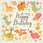 Happy birthday card in cartoon style. — Stock Vector #44295665