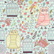 Pattern with birds, owls, cages, flowers and blooming trees. — Stockvector
