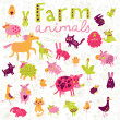Funny farm animals in vector set. — Vector de stock  #44296685