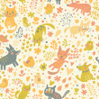 Bright childish seamless pattern with birds, cats and funny dogs — Stock Vector #44296931
