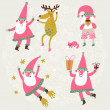 4 funny Santa Claus and Deer in vector set. — Stock Vector