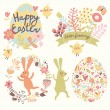 Easter holiday set in vector. — Stock Vector