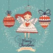 Cute Christmas card in vector. — Stock Vector