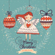 Cute Christmas card in vector. — Stock Vector #44297989