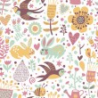 Cute seamless pattern with birds swallows, rabbits, bees — Stok Vektör
