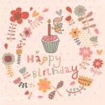 Bright floral Happy Birthday card in vector. — Stock Vector #44299193
